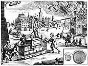 Fire engine. From Georg Andreas Bockler 'Theatrum Machinarum Novum', Nuremberg, 1673. Engraving
