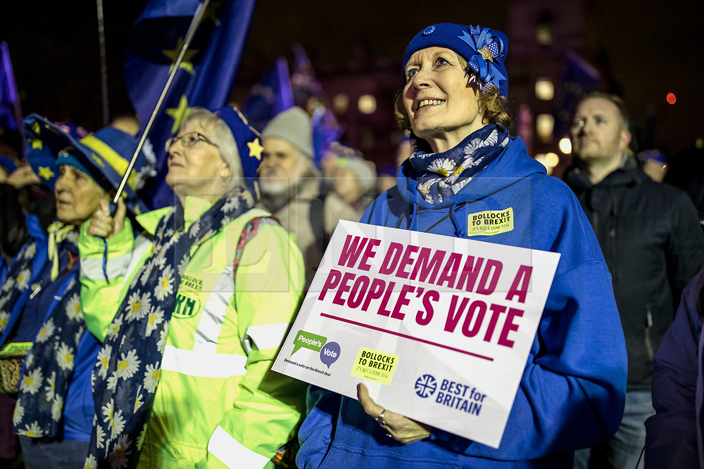 © Licensed to London News Pictures. 15/01/2019. London, UK. People gather in Parliament Square for a People's Vote rally as MPs continue to debate Prime Minister Theresa May's proposed Brexit deal. Parliament will vote on the deal this evening. Photo credit: Rob Pinney/LNP