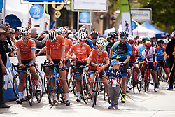 Rally UHC Cycling penned in at the start of Amgen Tour of California Women's Race empowered with SRAM 2019 - Stage 3, a 126 km road race from Santa Clarita to Pasedena, United States on May 18, 2019. Photo by Sean Robinson/velofocus.com