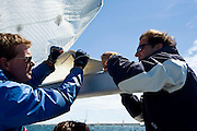 Racing onboard Alquemie, a C&C 37, at the Figawi Regatta.