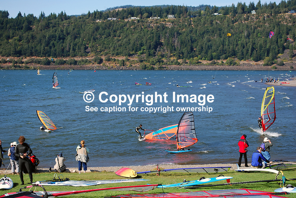 Wind surfing on the Columbia River at the Hood River Waterfront, Oregon, USA, 200809020842.<br /> <br /> Copyright Image from Victor Patterson, Belfast, UK<br /> <br /> t: +44 28 9066 1296 (from Rep of Ireland 048 9066 1296)<br /> m: +44 7802 353836<br /> <br /> victorpattersonbelfast@gmail.com<br /> <br /> www.victorpatterson.com OR <br /> www.images4media.com<br /> <br /> Please see my Terms and Conditions of Use at https://www.victorpatterson.com/page2<br /> It is IMPORTANT that you familiarise yourself with them.<br /> <br /> Images used on the Internet incur an additional cost and must be visibly watermarked i.e. © Victor Patterson within the body of the image and copyright metadata must not be deleted. Images used on the Internet have a size restriction of 4 kbs and are chargeable at rates available at victorpatterson.com.<br /> <br /> This image is only available for the use of the download recipient i.e. television station, newspaper, magazine, book publisher, etc, and must not be passed on to any third party. It is also downloaded on condition that each and every usage is notified within 7 days to victorpattersonbelfast@gmail.com.<br /> <br /> The right of Victor Patterson to be identified as the author is asserted in accordance with The Copyright Designs And Patents Act (1988). All moral rights are asserted.