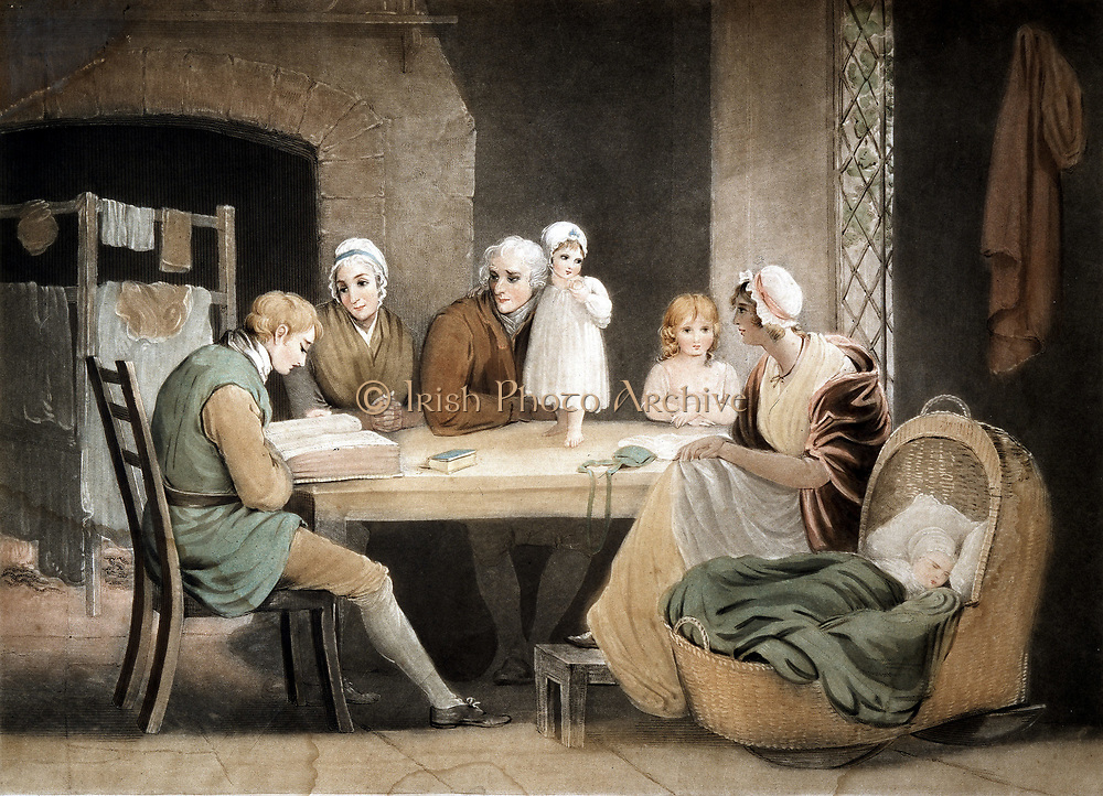 Three generations listening to reading from Family Bible. Grandparents, parents and two children at table, baby in basketwork cradle. Washing on clothes-horse in front of fire. Lattice casement window. Baby and small girl in bonnets. Women in mob caps. Aquatint after picture by Maria Spilsbury (1777-1820?).