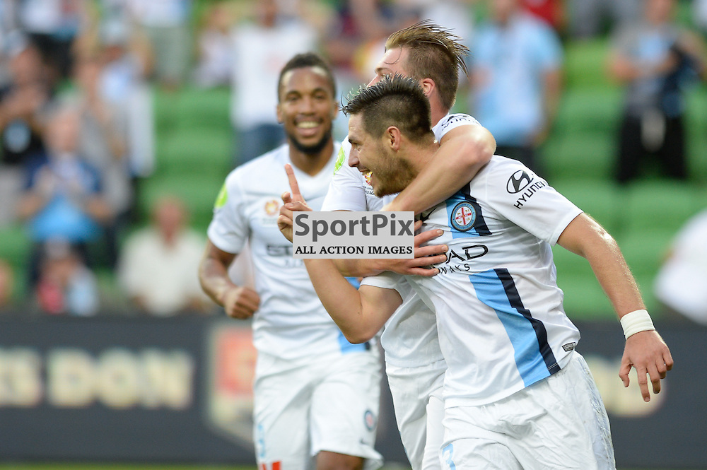 Jacob Melling of Melbourne City, Bruno Fornaroli of Melbourne City celebrates his goal in the Hyundai A-League, January 9th 2016, RD14 match between Melbourne City FC v Western Sydney Wanderers FC at Aami Park in a 3:2 win to City. Melbourne, Australia. © Mark Avellino | SportPix.org.uk