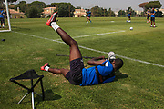 Forest Green Rovers Shamir Mullings(14) tries his hand at sports photography during the Forest Green Rovers Training session at Browns Sport and Leisure Club, Vilamoura, Portugal on 25 July 2017. Photo by Shane Healey.