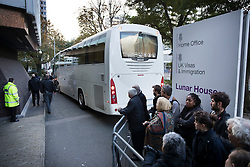 © Licensed to London News Pictures. 18/10/2016. Croydon, UK. A coach carrying a second group of migrants arrives from the Calais jungle camp at the Home Office immigration centre in Croydon. British authorities are bringing over about 100 children this week to be reunited with their relatives. The French government have announced that they will be dismantling the camp this month. credit: Peter Macdiarmid/LNP