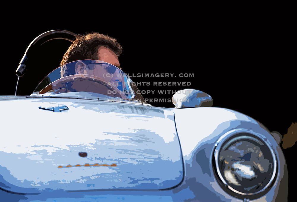 Car Photography from Automotive Photographer Randy Wells, Image of a 1958 silver Porsche 550A Spyder, Washington state, Pacific Northwest, model and property released, photo illustration