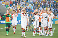 Benedikt Howedes of Germany (4) waves to the crowd after winning 0-1 during the 2014 FIFA World Cup match between France and Germany at the Maracana Stadium, Rio de Janeiro<br /> Picture by Andrew Tobin/Focus Images Ltd +44 7710 761829<br /> 04/07/2014