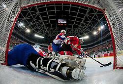 Robert Kristan of Slovenia tries to block a puck during ice-hockey match between Slovenia and Hungary at IIHF World Championship DIV. I Group A Slovenia 2012, on April 18, 2012 at SRC Stozice, Ljubljana, Slovenia. (Photo By Matic Klansek Velej / Sportida.com)
