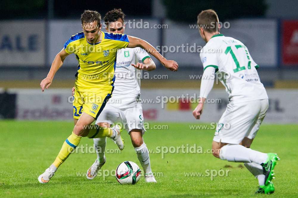 Dejan Trajkovski #24 of NK Domzale and Martin Michel Mimoun #92 of NK Olimpija Ljubljana during football match between NK Domzale and NK Olimpija Ljubljana in 12th Round of Prva liga Telekom Slovenije 2015/16, on September 26, 2015 in Sports park Domzale, Slovenia. Photo by Urban Urbanc / Sportida