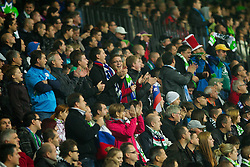 Fans of Slovenia during football match between National teams of Slovenia and Cyprus in 3rd Round of Group E of FIFA World Cup 2014 Qualification on October 12, 2012 in Stadium Ljudski vrt, Maribor, Slovenia. (Photo By Vid Ponikvar / Sportida)