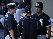 MESA, AZ - MARCH 08:  Jose Abreu #79 talks with Manager Robin Ventura #23 of the Chicago White Sox during the spring training game between the Oakland Athletics and Chicago White Sox on March 8, 2015 at Hohokam Stadium in Mesa, Arizona. (Photo by Ron Vesely)   Subject:  Jose Abreu; Robin Ventura