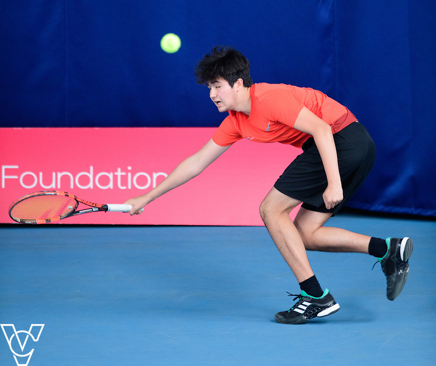 Glanville Cup - Hall Cross Academy - Jacob Bennett<br /> <br /> Team Tennis Schools National Championships Finals 2017 held at Nottingham Tennis Centre.  <br /> <br /> Picture: Chris Vaughan Photography for the LTA<br /> Date: July 14, 2017