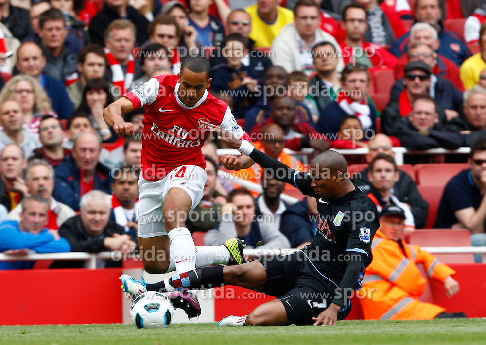 15.05.2011, Emirates Stadium, London, ENG, PL, FC Arsenal vs Aston Villa, im Bild Ashley Young of Aston Villa tackled Arsenal's Theo Walcott.Barclays Premier League.Arsenal v Aston Villa.at The Emirates Stadium, London on 15/05/2011. EXPA Pictures © 2011, PhotoCredit: EXPA/ IPS/ Kieran Galvin +++++ ATTENTION - OUT OF ENGLAND/UK and FRANCE/FR +++++