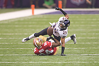 3 February 2013: Cornerback (29) Cary Williams of the Baltimore Ravens rips the ball away from (84) Randy Moss of the San Francisco 49ers during the second half of the Ravens 34-31 victory over the 49ers in Superbowl XLVII at the Mercedes-Benz Superdome in New Orleans, LA.