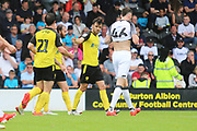 Burton Albion defender John Brayford (2) celebrates scoring a goal 1-1 during the Pre-Season Friendly match between Burton Albion and Derby County at the Pirelli Stadium, Burton upon Trent, England on 20 July 2019.