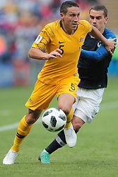 June 16, 2018 - Kazan, U.S. - KAZAN, RUSSIA - JUNE 16: defender Mark Milligan of Australia and forward Antoine Griezmann of France during a Group C 2018 FIFA World Cup soccer match between France and Australia on June 16, 2018, at the Kazan Arena in Kazan, Russia. (Photo by Anatoliy Medved/Icon Sportswire) (Credit Image: © Anatoliy Medved/Icon SMI via ZUMA Press)