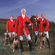 Portrait of the four Masters of the Hunt for the West Hills Hunt. Raul Walters, front left, Mitchell Jacobs, back left, David Wendler, front right, Chris Whittaker, back right.