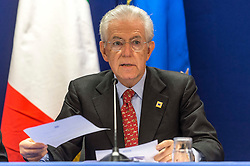 Mario Monti, Italy's prime minister, speaks during a press briefing following the EU Summit, at the European Council headquarters in Brussels, Belgium on Friday, Oct. 19, 2012. (Photo © Jock Fistick)