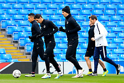 Angel di Maria and Zlatan Ibrahimovic of PSG train - Mandatory byline: Matt McNulty/JMP - 07966386802 - 11/04/2016 - FOOTBALL - Manchester City v PSG - Etihad Stadium -Manchester,England - UEFA Champions League