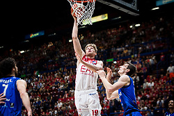 May 26, 2018 - Milan, Milan, Italy - Mindaugas Kuzminskas (#19 EA7 Emporio Armani Milano) shoots a layup during a basketball game of Poste Mobile Playoff Lega Basket A between  EA7 Emporio Armani Milano vs Germani Basket Brescia at Mediolanum Forum, in Milan, Italy, on 26 May 2018. (Credit Image: © Roberto Finizio/NurPhoto via ZUMA Press)