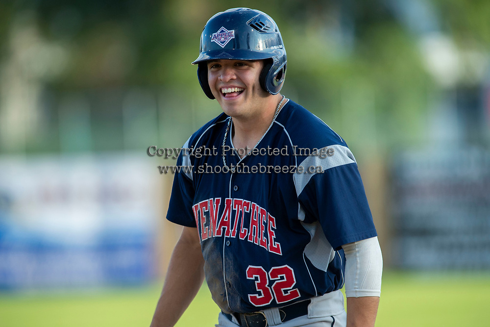 KELOWNA, BC - JULY 17:  Johnny Sage #32 of the Wenatchee Applesox stands safe on first base against the the Kelowna Falcons fpr at Elks Stadium on July 17, 2019 in Kelowna, Canada. (Photo by Marissa Baecker/Shoot the Breeze)
