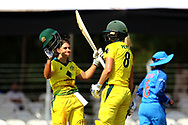 Nicole Bolton of Australia raises his bat after scoring a hundred during the first women's one day International ( ODI ) match between India and Australia held at the Reliance Cricket Stadium in Vadodara, India on the 12th March 2018<br /> <br /> Photo by Vipin Pawar / BCCI / SPORTZPICS