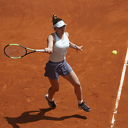 May 7, 2019 - Madrid, Spain - SIMONA HALEP of Romania in action against Johanna Konta of Great Britain during their second-round match at the 2019 Mutua Madrid Open. Halep won 7:5, 6:1. (Credit Image: © Oscar Gonzalez/NurPhoto via ZUMA Press)