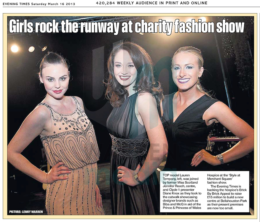 Model Lauren Tempany, former Miss Scotland Jennifer Reoch and Clyde 1 presenter Diane Knox on the catwalk ahead of a fashion show at Merchant Square in aid of the Prince and Princess of Wales Hospice..Lenny Warren / Warren Media.07860 830050.01355 229700.lenny@warrenmedia.co.uk.www.warrenmedia.co.uk
