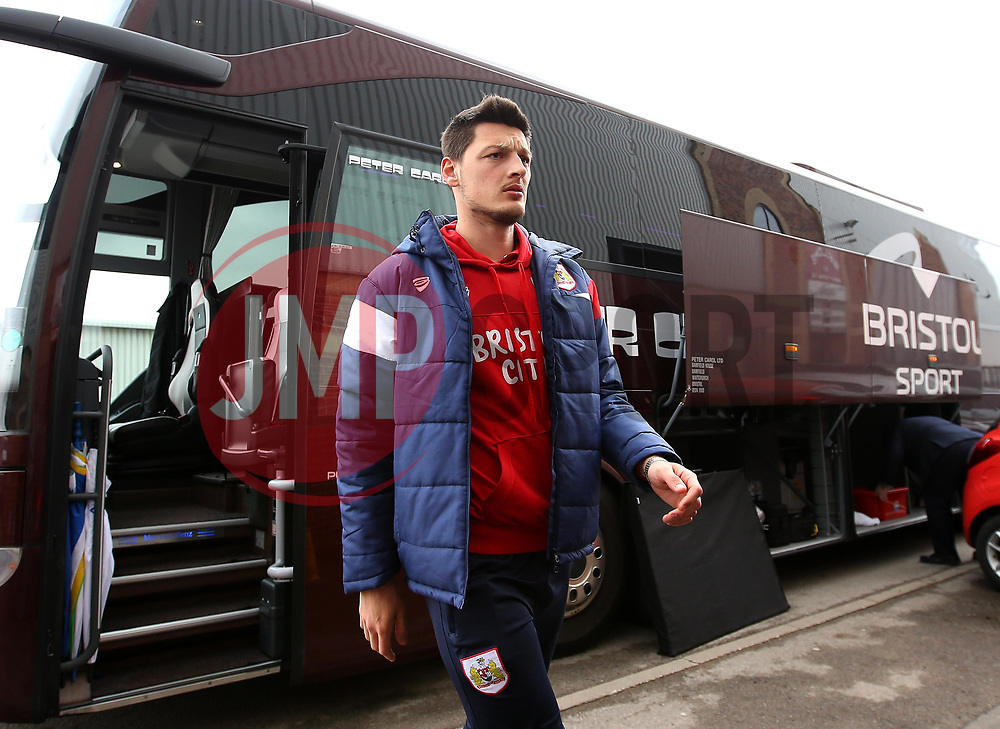 Milan Djuric of Bristol City arrives at Barnsley - Mandatory by-line: Robbie Stephenson/JMP - 30/03/2018 - FOOTBALL - Oakwell Stadium - Barnsley, England - Barnsley v Bristol City - Sky Bet Championship