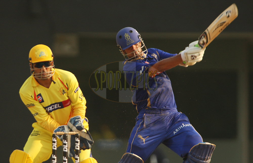 Rahul Dravid on the way to his half century during match 43 of the Indian Premier League ( IPL ) Season 4 between the Chennai Superkings and c held at the MA Chidambaram Stadium in Chennai, Tamil Nadu, India on the 4th May 2011..Photo by Jacques Rossouw/BCCI/SPORTZPICS .
