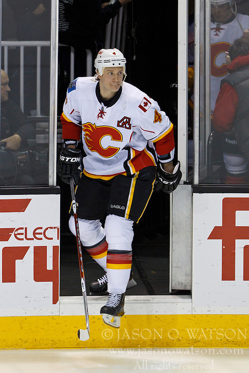 Jan 17, 2012; San Jose, CA, USA; Calgary Flames defenseman Jay Bouwmeester (4) enters the ice before the game against the San Jose Sharks at HP Pavilion. San Jose defeated Calgary 2-1 in shootouts. Mandatory Credit: Jason O. Watson-US PRESSWIRE