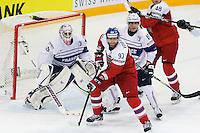 Jakub Voracek / Yoahnn Auvitu / Florient Hardy - 07.05.2015 - Republique Tcheque / France - Championnat du Monde de Hockey sur Glace <br />Photo : Xavier Laine / Icon Sport