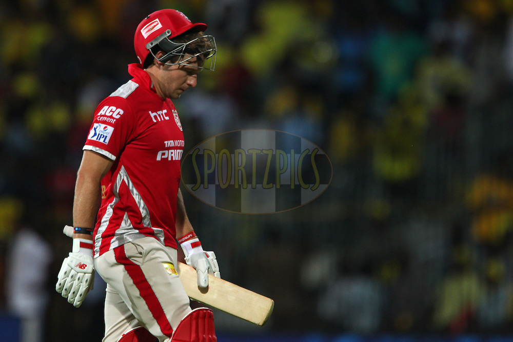 David Miller of Kings XI Punjab departs during match 24 of the Pepsi IPL 2015 (Indian Premier League) between The Chennai Superkings and The Kings XI Punjab held at the M. A. Chidambaram Stadium, Chennai Stadium in Chennai, India on the 25th April 2015.<br /> <br /> Photo by:  Ron Gaunt / SPORTZPICS / IPL