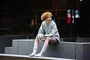 London, UK. 16.03.2017. &quot;Roman Tragedies&quot; presented by Toneelgroep Amsterdam,  William Shakespeare's &quot;Coriolanus&quot;, Julius Caesar&quot; and &quot;Anthony and Cleopatra&quot;, at the Barbican Theatre.  <br /> Julius Caesar - Helene Devos (Portia)