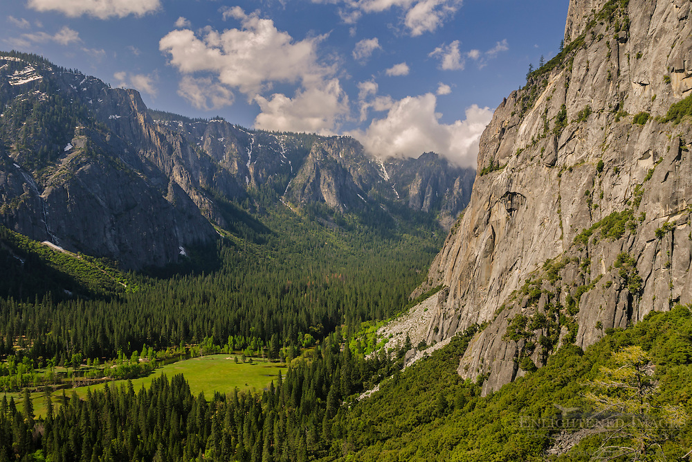 Looking across Yosemite Valley to the South Valley Rim from Columbia Point, Yosemite National Park, California