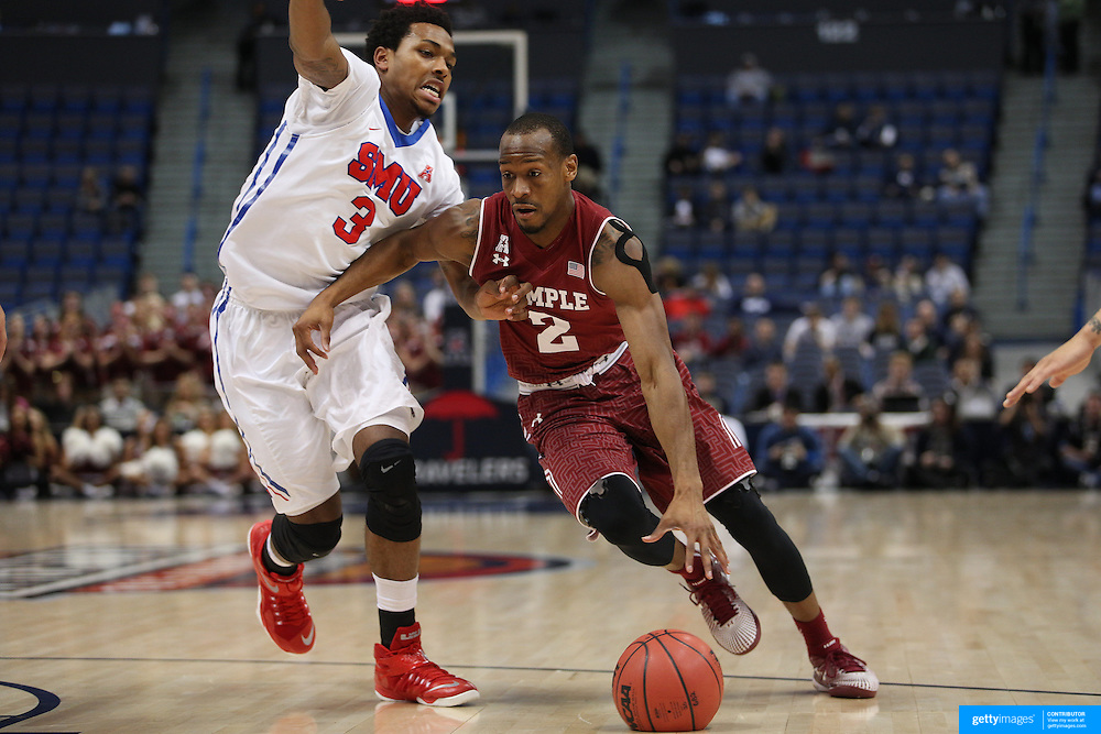 Will Cummings, (right), Temple, drives past Sterling Brown, SMU, during the Temple Vs SMU Semi Final game at the American Athletic Conference Men's College Basketball Championships 2015 at the XL Center, Hartford, Connecticut, USA. 14th March 2015. Photo Tim Clayton