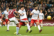 Aston Villa defender Ahmed Elmohamady (27) takes a shot at goal during the EFL Sky Bet Championship match between Aston Villa and Nottingham Forest at Villa Park, Birmingham, England on 28 November 2018.