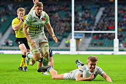 December 7, 2017 - London, England, United Kingdom - Cambridge University Chris Bell thinks he's scored a try during the Mens Varsity match between Oxford University  and Cambridge University  at Twickenham Stadium, London, England on 7 Dec 2017. (Credit Image: © Kieran Galvin/NurPhoto via ZUMA Press)
