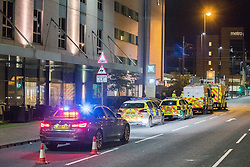 © Licensed to London News Pictures. 10/08/2017. Salford, UK. Police and paramedics at the scene at the Ibis hotel in Salford Quays where a young boy was killed in a collision with a car earlier this evening (Thursday 10th August 2017) . Photo credit: Joel Goodman/LNP
