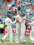 Morne Morkel celebrates the wicket of Matt Prior with AB de Villiers during day 4 of the 4th Castle Test between South Africa and England held at The Bidvest Wanderers Stadium in Johannesburg, South Africa on the 17 January 2010.Photo by:  Ron Gaunt/SPORTZPICS