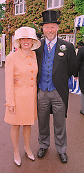 MISS JANICE STINNES and MR CHRIS WRIGHT chairman of Wasps Rugby Club and QPR Football Club, at Royal Ascot on 18th June 1998.MIN 38