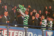 Winning Goal Scorer Christopher Jullien of Celtic FC lifts the Betfred Scottish League Cup Trophy at Hampden Park, Glasgow, United Kingdom on 8 December 2019.