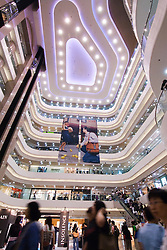 Interior of modern Times Square shopping mall in Hong Kong China