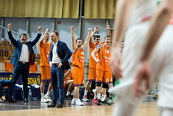 Players of Helios Suns celebrate during basketball match between KK Petrol Olimpija and KK Helios Suns in Round #9 of Liga Nova KBM 2018/19, on December 14, 2018 in Arena Tivoli, Ljubljana, Slovenia. Photo by Vid Ponikvar / Sportida