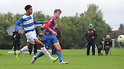Patrick Bamford with a close range chance during the U21 Professional Development League match between U21 QPR and U21 Crystal Palace at the Loftus Road Stadium, London, England on 31 August 2015. Photo by Michael Hulf.