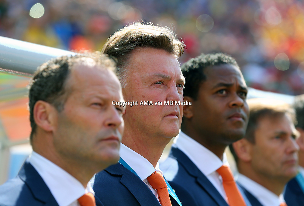 Louis van Gaal manager / head coach of Netherlands with assistant coaches Danny Blind and Patrick Kluivert