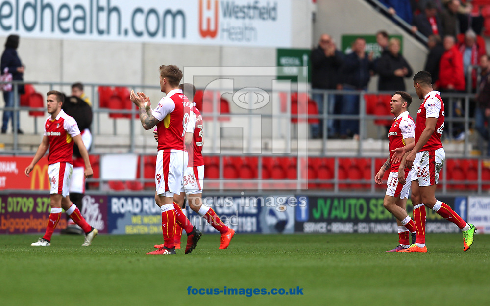 Rotherham United players look dejected after they became the first team to be relegated this season after defeat in the Sky Bet Championship match at the New York Stadium, Rotherham<br /> Picture by James Wilson/Focus Images Ltd 07709 548263<br /> 01/04/2017
