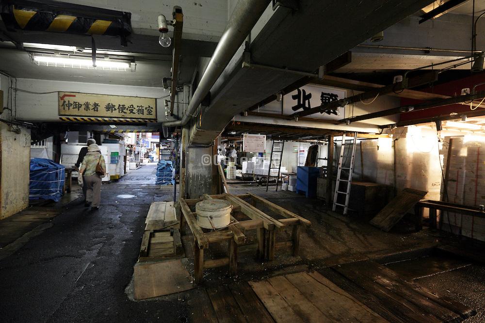 after hours, sorting and distribution area at Tsukiji Wholesale Fish Market,  Tokyo, Japan.