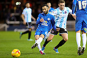 Peterborough United midfielder Marcus Maddison places a pass during the Sky Bet League 1 match between Peterborough United and Shrewsbury Town at the ABAX Stadium, Peterborough, England on 12 December 2015. Photo by Aaron Lupton.
