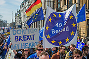 Unite for Europe march attended by thousands on the weekend before Theresa May triggers article 50. The march went from Park Lane via Whitehall and concluded with speeches in Parliament Square. London 25 Mar 2017